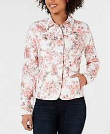Petite Floral Denim Jacket, Created for Macy's