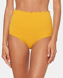 Jessica Simpson Scalloped High-Waist Bikini Bottoms