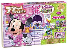 Disney Minnie Mouse 7 Wood Jigsaw Puzzles in Wood Storage Box