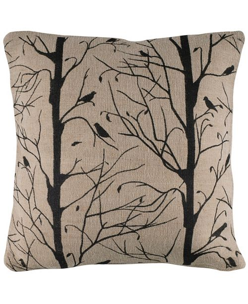 """Rizzy Home 18"""" x 18"""" Sticks, Twigs and Bird Down Filled Pillow"""