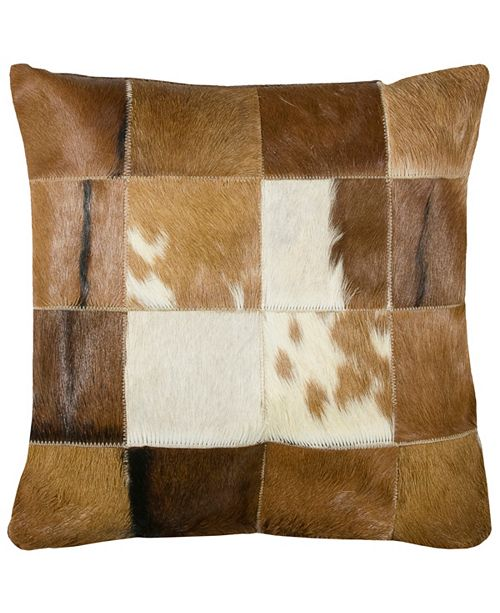 """Rizzy Home 18"""" x 18"""" Hair on Hide Squares Down Filled Pillow"""