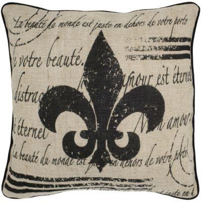 """18"""" x 18"""" Fleur de Lis with Script Down Filled Pillow"""