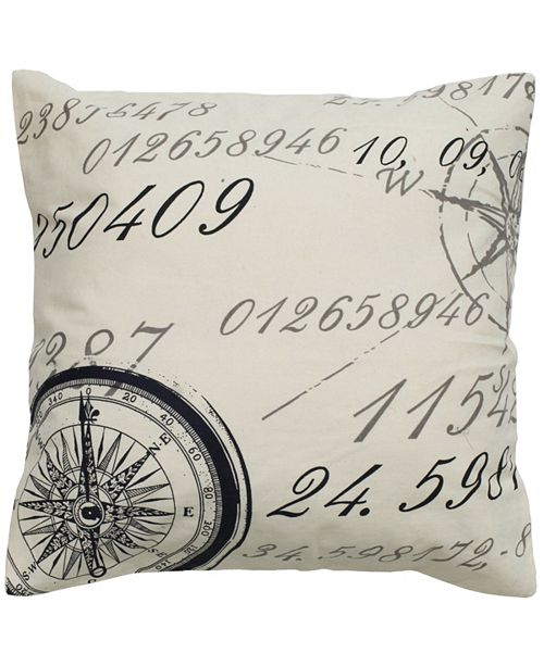 "Rizzy Home 20"" x 20"" Script with Compass Down Filled Pillow"