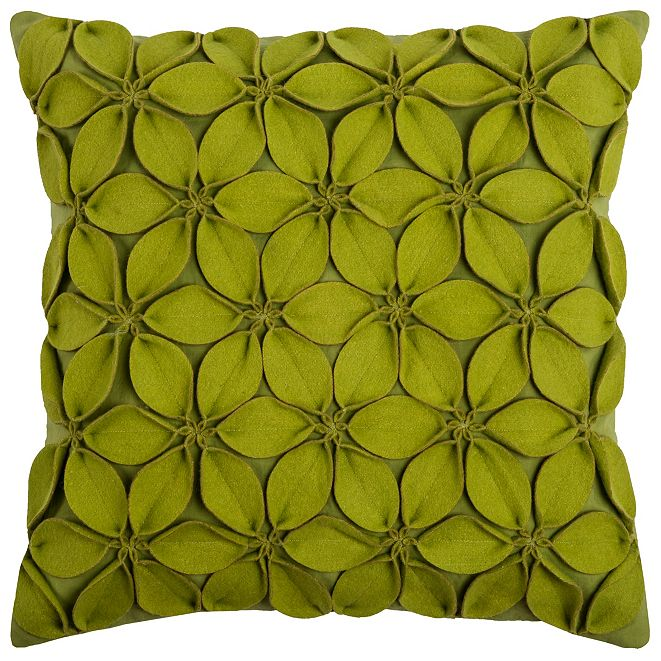 "Rizzy Home 18"" x 18"" Botanical Petals Down Filled Pillow"