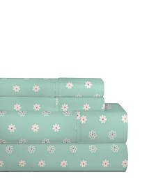 Pointehaven 200 Thread Count Cotton Percale Printed Sheet Set Twin