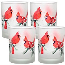 Winter Cardinals 14oz Frosted Double Old Fashioned Glass, Set of 4