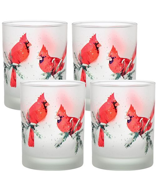 Culver Winter Cardinals 14oz Frosted Double Old Fashioned Glass, Set of 4