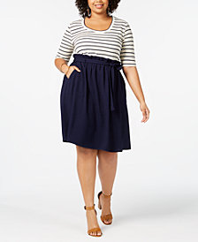 Monteau Trendy Plus Size Belted A-Line Dress