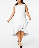 4a405cea01b Calvin Klein Plus Size Ruffled High-Low Midi Dress