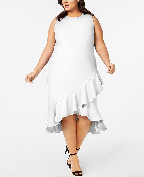 Calvin Klein Plus Size Ruffled High-Low Midi Dress & Reviews ...
