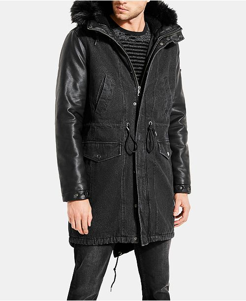 a89ba5171acc5 ... GUESS Men s Denim Fishtail Parka with Faux Leather Sleeves and ...