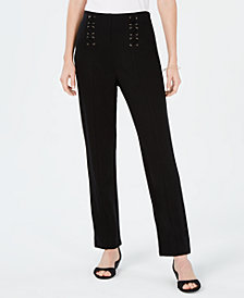 JM Collection Lace-Up Straight-Leg Pants, Created for Macy's