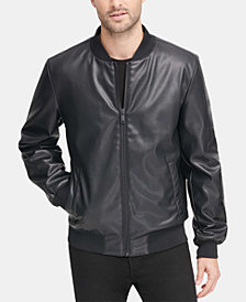DKNY Men's Soft Faux-Leather Bomber Jacket