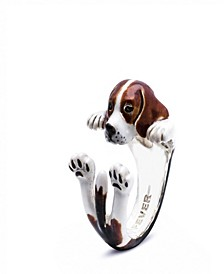 Beagle Hug Ring in Sterling Silver and Enamel