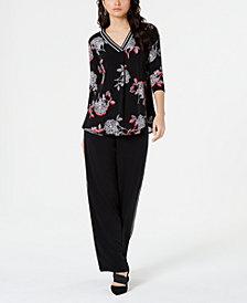 Alfani Printed Sweater Trim Top & Solid Sweater Trim Pant