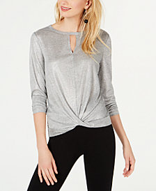 I.N.C. Shiny Twist-Front Cutout Top, Created for Macy's