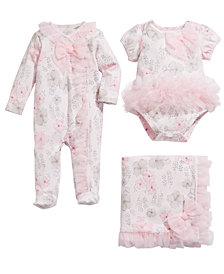 First Impressions Baby Girls Floral-Print Bodysuit Footed Coverall & Blanket, Created for Macy's