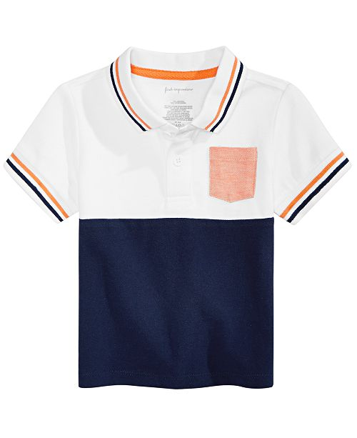 First Impressions Baby Boys Colorblocked Cotton Polo Shirt, Created for Macy's