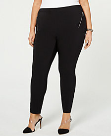 I.N.C. Plus Size Skinny Ponté-Knit Pants, Created for Macy's