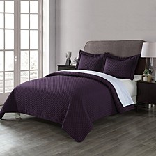 Lotus Home Diamond Stitch  King Quilt with Stain Resistant Microfiber