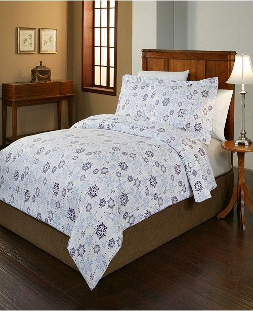 Pointehaven Snowdrop Print Luxury Size Cotton Flannel Duvet Set Full Queen