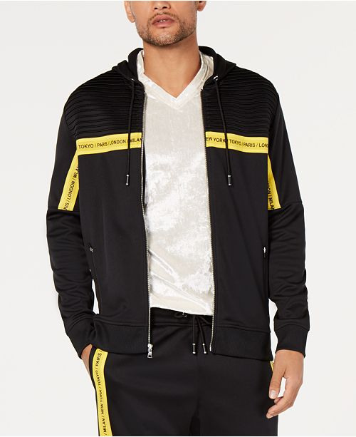 INC International Concepts I.N.C. Men's Zip-Front Logo-Tape Hoodie, Created for Macy's