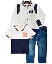 First Impressions Baby Boys Varsity Jacket, Polo Shirt & Destructed Jeans, Created for Macy's