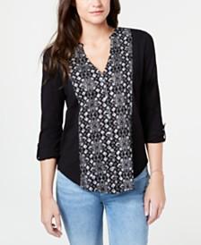 Lucky Brand Cotton Batik-Print Bib-Front Shirt