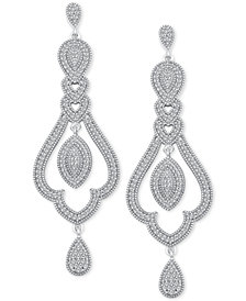 Diamond (1/2 ct. t.w.) Halo Chandelier Drop Earrings in Sterling Silver