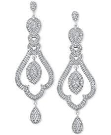 Diamond (1/2 ct. t.w.) Halo Chandelier Drop Earrings in Sterling Silver