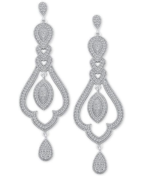Macy's Diamond (1/2 ct. t.w.) Halo Chandelier Drop Earrings in Sterling Silver