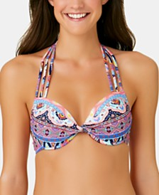 California Waves Juniors' Far Away Vacay Printed Push Up Halter Bikini Top, Available in D/DD, Created for Macy's