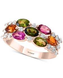 EFFY® Multi Tourmaline (2-1/3 ct. t.w.) & Diamond (3/8 ct. t.w.) Statement Ring in 14k Rose Gold
