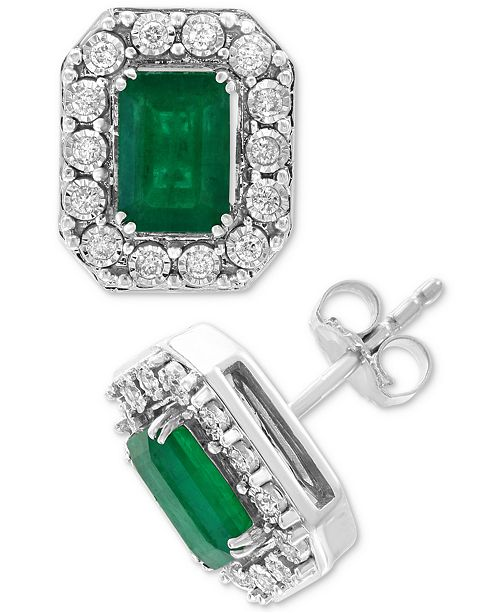 EFFY Collection EFFY® Emerald (1-9/10 ct. t.w.) & Diamond (1/5 ct. t.w.) Earrings in 14k White Gold
