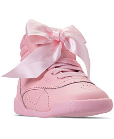 Reebok Toddler Girls' Freestyle High Top Satin Bow Casual Sneakers from Finish Line