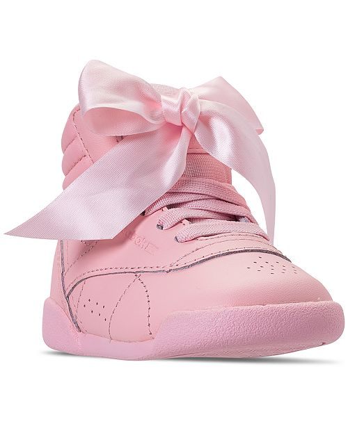Reebok Toddler Girls' Freestyle High Top Satin Bow Casual
