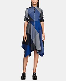 BCBGMAXAZRIA Cotton Handkerchief-Hem Shirtdress