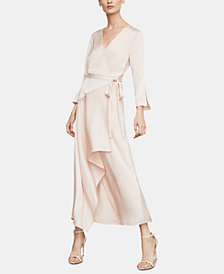 BCBGMAXAZRIA Asymmetrical Satin Wrap Dress