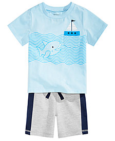 First Impressions Baby Boys Shark-Print T-Shirt & Colorblocked Shorts, Created for Macy's