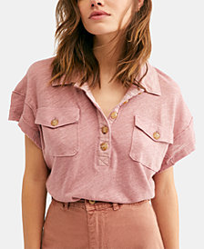 Free People Linen-Blend Polo Top
