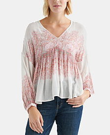 Lucky Brand Draped Paisley-Print Top