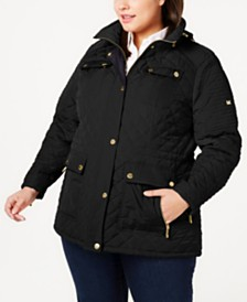 Michael Michael Kors Plus Size Hooded Quilted Jacket, Created for Macy's
