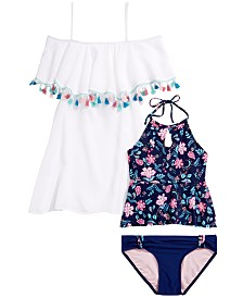 Summer Crush Big Girls 2-Pc. Floral-Print Tankini	& Crinkle Cover-Up
