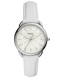 Fossil Women's Tailor White Leather Strap Watch 35mm