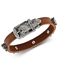 Gucci Engraved Buckle & Wolf Head Brown Leather Bracelet in Sterling Silver, YBA524907001018