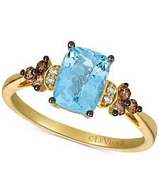 Le Vian® Sea Blue Aquamarine® (1-1/4 ct. t.w.) & Diamond (1/6 ct. t.w.) Statement Ring in 14k Gold