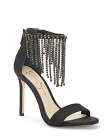 Jessica Simpson Jiena Rhinestone-Fringe Dress Sandals