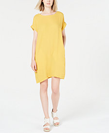 Eileen Fisher Organic Cotton Crinkle Shift Dress, Regular & Petite