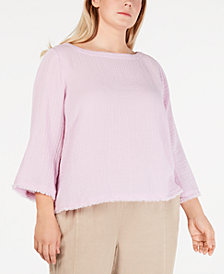 Eileen Fisher Plus Size Cotton Boat-Neck Textured Top