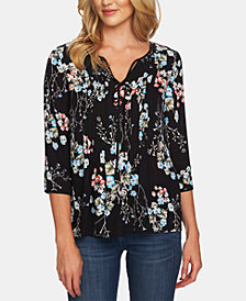CeCe Floral-Print Pleated Top
